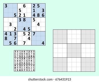 Symmetrical Sudoku Answers Vector Set Blank Stock Vector Royalty