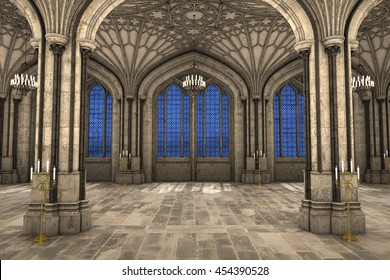 Symmetrical view of gothic cathedral interior 3d CG illustration