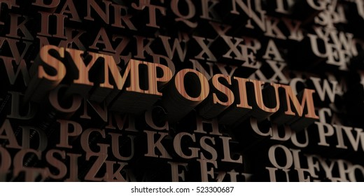 Symposium - Wooden 3D rendered letters/message.  Can be used for an online banner ad or a print postcard.