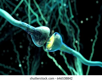 Synapse. Signals in brain. Neuron cells sending electrical chemical signals. 3D illustration