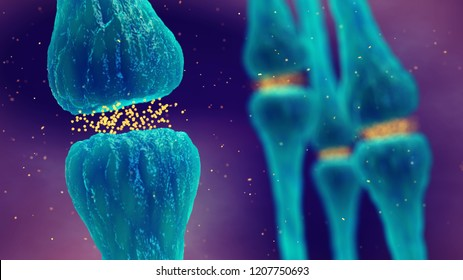 Synaptic transmission, Brain synapses pathology and Neurological disease, 3d illustration