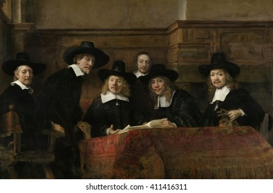The Syndics, by Rembrandt van Rijn, 1662, Dutch painting, oil on canvas. The painting, original title was, 'The Sampling Officials of the Amsterdam Drapers' Guild.'