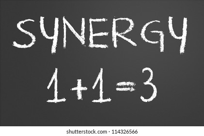 Synergy 1 +1 = 3 written on a chalkboard