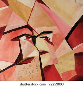 synthetic cubism showing a face at different angles acrylic and oil painting