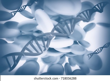 Synthetic DNA - Nanomedicine - Abstract 3D Illustration