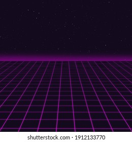 Synthwave magenta cyber laser grid with stars in background and horizon on starry space background. Design for poster, cover, wallpaper, web, banner.