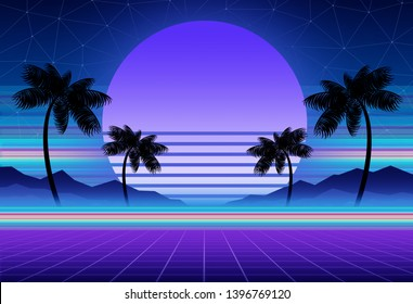 Synthwave and retrowave background template. Palms, sun and space in computer game. Retro design, rave music, 80s computer graphics and sci-fi concept.