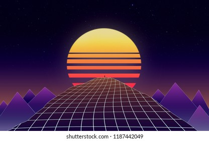 Synthwave wallpaper 80's