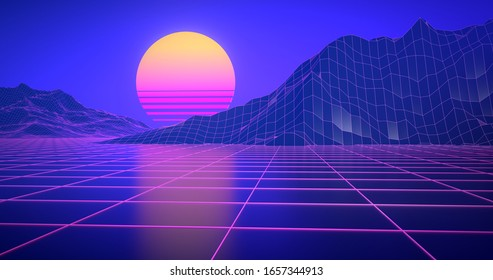 synthwave wireframe 80s retro background.Retrowave horizon landscape with neon lights and low poly terrain.3d rendering.