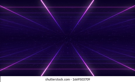 Synthwave wireframe net illustration. Abstract digital background. 80s, 90s Retro futurism, Retro wave cyber grid. Top and bottom surfaces. Neon lights glowing. Starry background. 3D Rendering