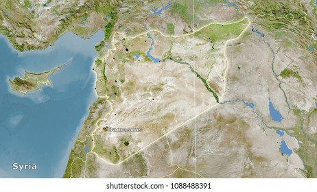 Syria area on the satellite A map in the stereographic projection - main composition
