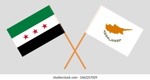 Syria and Cyprus. Syrian National Coalition and Cyprian flags