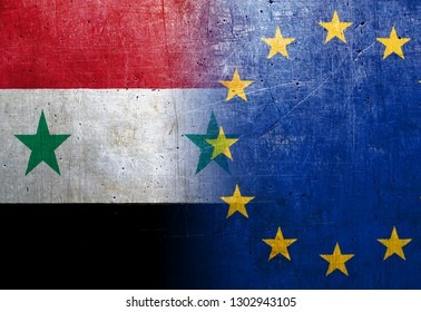 Syria and European Union flags on the grunge metal background