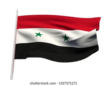 Syria flag floating in the wind with a White sky background. 3D illustration.