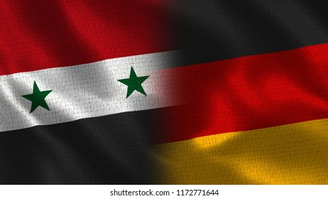 Syria and Germany - Two Flag Together - Fabric Texture
