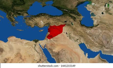 Syria map 3D rendering Syrian Arab Republic