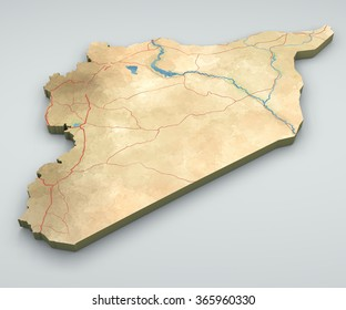 Syria map, physical map, hand drawn, 3d