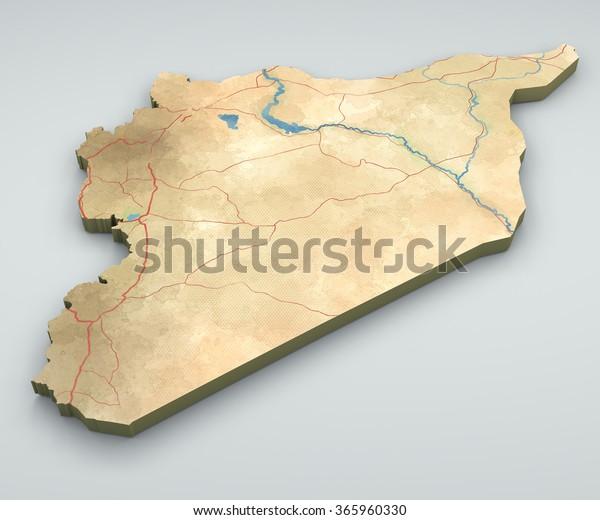 Syyrian Kartta Fyysinen Kartta Kasin Piirretty Arkistokuvitus