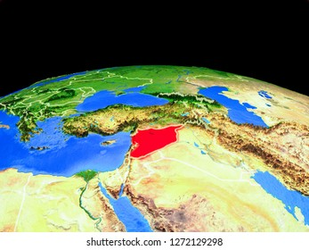 Syria on model of planet Earth with country borders and very detailed planet surface. 3D illustration. Elements of this image furnished by NASA.