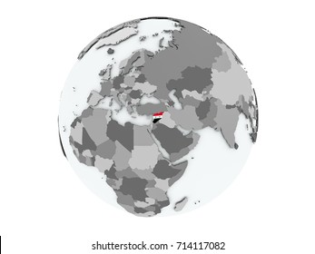 Syria on political globe with embedded flags. 3D illustration isolated on white background.