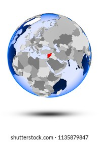 Syria on political globe with shadow and translucent oceans isolated on white background. 3D illustration.