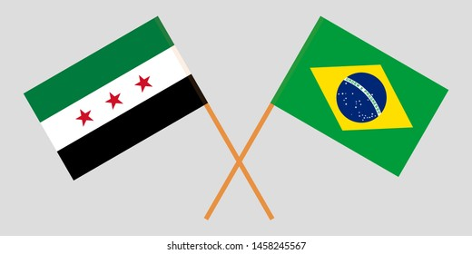 Syria opposition and Brazil. The Syrian National Coalition and Brazilian flags