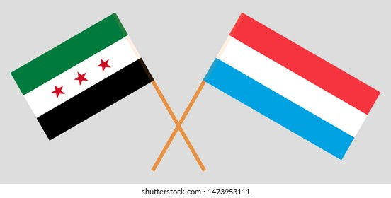 Syria opposition and Luxembourg. The Luxembourgish and Syrian National Coalition flags