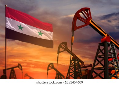 Syrian Arab Republic oil industry concept, industrial illustration. Syrian Arab Republic flag and oil wells and the red and blue sunset or sunrise sky background - 3D illustration