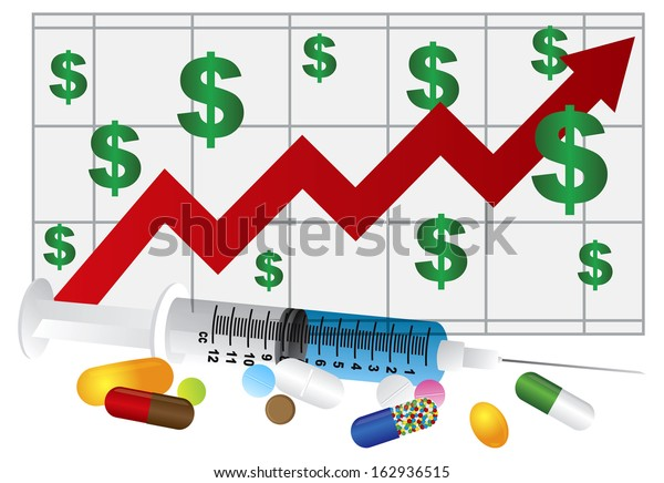 Syringe with Medication Pills and Prescription Drugs Rising Cost Chart Isolated on White Background Raster Illustration