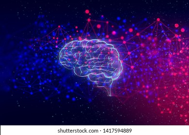 system of brain, data deep learning hologram robotic, ai technology neon glow, molecule of chemical, atom cell, futuristic cyber network, background illustration 3d