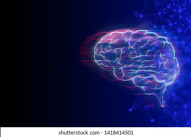 system of brain, data deep learning hologram robotic, ai technology neon glow, molecule of chemical, atom cell science particle, futuristic cyber social network, background illustration 3d