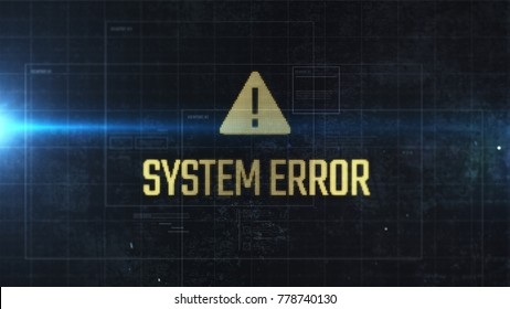 System error message with yellow sign on LCD display with pixels visible. Closeup view. HUD. Futuristic interface with warning popup. Computer bug.