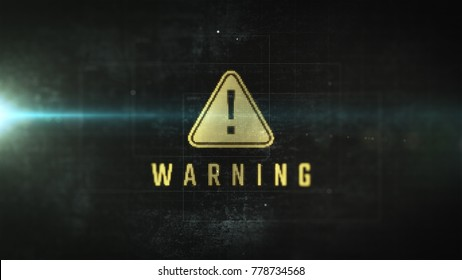 System error warning message with attention icon. LCD monitor futuristic effect. Close up display view with alert notification.