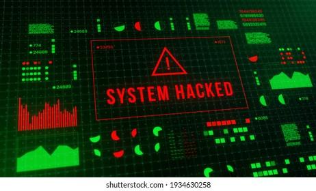 System hack security breach computer hacking warning message hacked alert. digital illustration