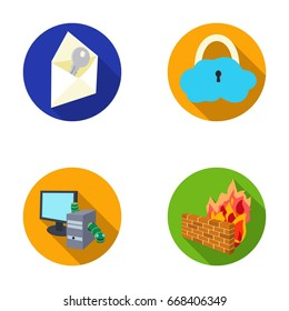 System, internet, connection, code .Hackers and hacking set collection icons in flat style raster,bitmap symbol stock illustration web.