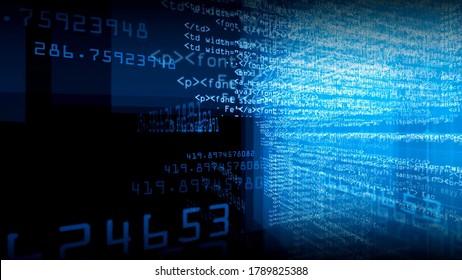 System Technology Character Software Black Background Image Summary Illustration
