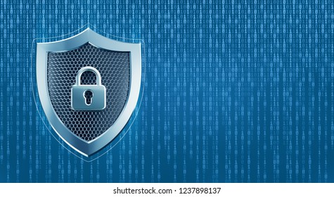 System Under Protection. Metallic shield pictured in techno style on digital background formed from binary code. 3D rendering graphic composition on the subject of 'Cybersecurity'.