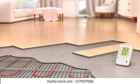 System of underfloor heating in interior design, 3d illustration