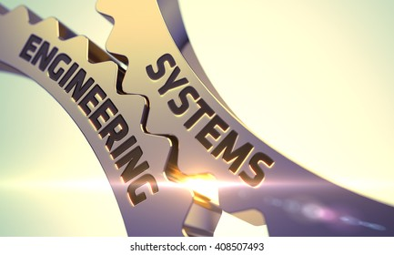 Systems Engineering Golden Gears. Systems Engineering - Illustration with Glowing Light Effect. Systems Engineering on Mechanism of Golden Gears with Glow Effect. 3D.