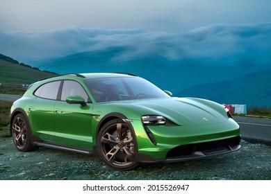 Szczecin, Poland-July 2021:Porsche Taycan Cross Turismo on the roadside of a beautiful mountain .3D illustration.