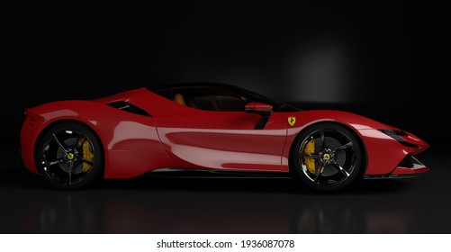 Szczecin, Poland-March 2021:Ferrari Stradale-A hybrid supercar from Maranello in studio on a black background.3D illustration