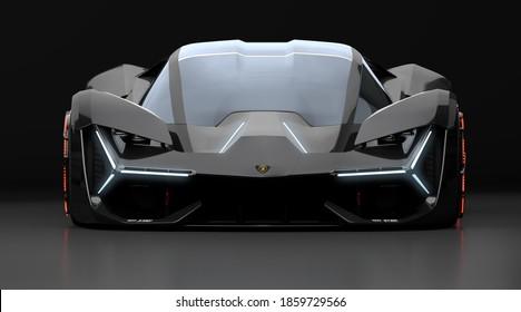 Szczecin, Poland-November 2020:Lamborghini Terzo Millennio in the studio ,3d illustration.