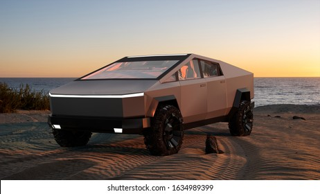 Szczecin,Poland-December 2019:Tesla Cybertruck electric pick-up