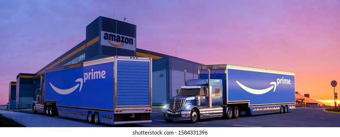 Szczecin,Poland-December 2019:truck with a semi-trailer with the Amazon Prime logo at the Amazon logistics center.3D illustration.