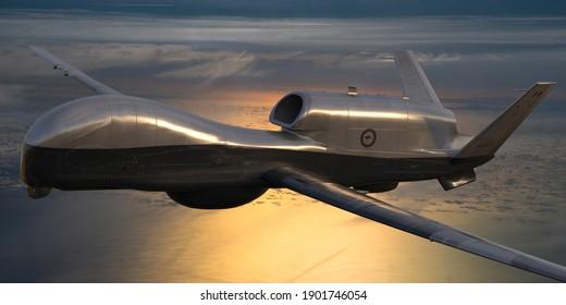 Szczecin,Poland-January 2021: Grumman MQ-4C Triton of the Australian Air Force,3d illustration.