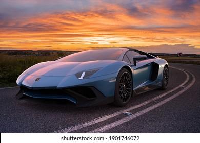 Szczecin,Poland-January 2021:The legendary Lamborghini Aventador SV,3d illustration.