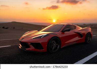 Szczecin,Poland-July 2020:Chevrolet Corvette .3D illustration.