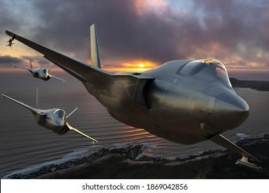 Szczecin,Poland-November 2020:Lockheed Martin F-35 in a formation flying over the ocean,3d illustration.