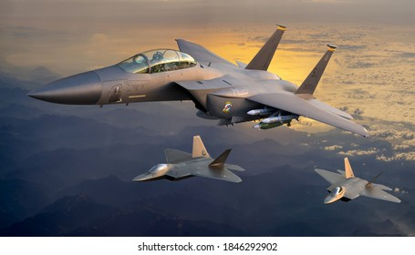 Szczecin,Poland-October 2020:-15E Eagle Strike Fighter assisted by the fifth generation F-22,3d illustration.
