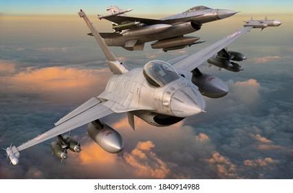 Szczecin,Poland-October 2020:Lockheed Martin F-16 Polish Air Force flying in close ,3d illustration.